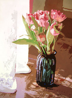 Tulips in Blue Glass 24x18 Original Painting - David Lloyd Glover