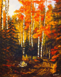 Untitled Aspen Forest 38x32 Original Painting - Marin Dobson