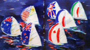 America's Cup Watercolor 19x28 Watercolor - Ken Done