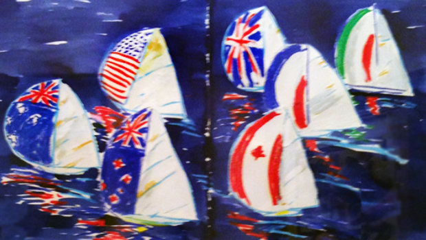 America's Cup Watercolor 19x28