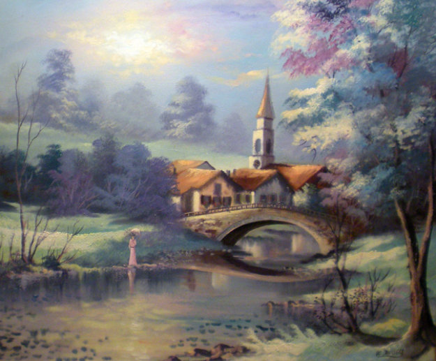 Untitled village landscape 24x20 by lionel dougy for Best way to sell your art online