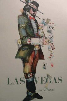 Las Vegas Gambler Poker Litho Poster Hand Signed Limited Edition Print - John Doyle