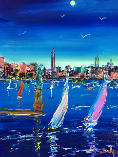 Small New York By Night 2019 26x23 Original Painting -  Duaiv