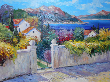 Coastal Landscape With Cottages And Garden Behind Gated Stone Wall 41x50 Original Painting - Valentina DuBasky