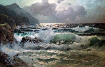 Seascape 30x30 Original Painting - Alex Dzigurski