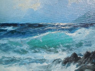Green Surf 1972 24x20 Original Painting - Alex Dzigurski