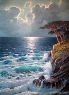 Untitled Seascape 49x39 Original Painting - Alex Dzigurski Sr.
