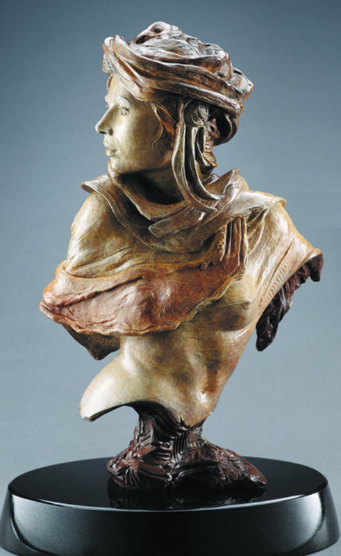 Adrenaline Rising Bust Bronze Sculpture 2003 18 in