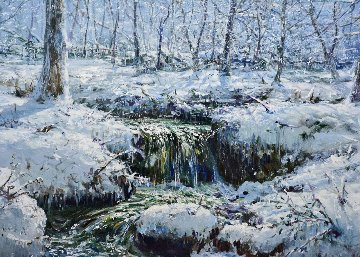 Vermont Winter 1982 36x42 Original Painting - Peter Ellenshaw