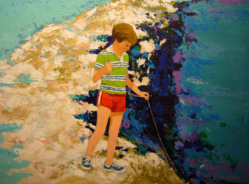 Little Fisherman 32x42 Original Painting - Russ Elliott