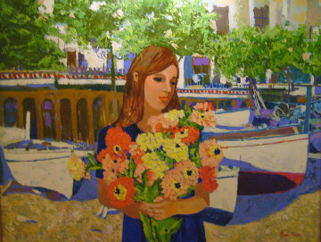 Girl With Flowers 1998 Original Painting - Russ Elliott