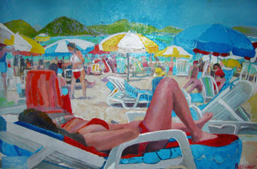 Copacabana Beach 2011 26x34 Original Painting - Russ Elliott