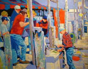 Montauk Fisherman 30x40 Original Painting - Russ Elliott