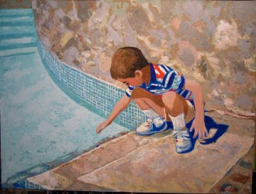 Young Boy At Pool 1995 24x30 Original Painting - Russ Elliott