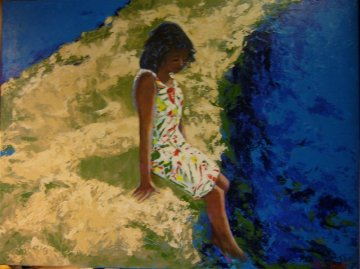 Young Girl Cooling Off 2008 30x40 Original Painting - Russ Elliott