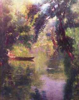 Boat on a Sunny River 1944 13x10 Original Painting - Emile Delobre