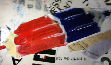 Red and  Blue 2009 15x23 Original Painting - Enrico Bacci