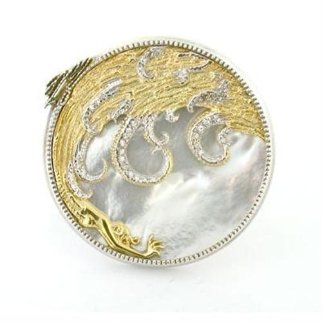 Aphrodite Brooch - Gold - Diamonds - Mother of Pearl Jewelry -  Erte