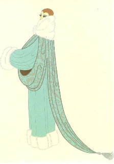 Elegant Lady Wearing Duck Egg Blue Evening Coat AP 1975 Limited Edition Print -  Erte