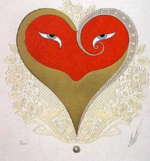 Heart II (Red And Gold) 1986 Limited Edition Print -  Erte