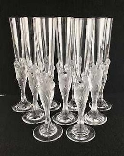 Flute Majestique Set of 10 Flutes Glass Sculpture 1990 Sculpture -  Erte