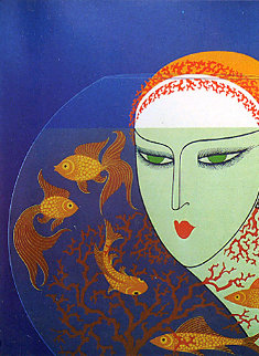 Fish Bowl AP 1977 Limited Edition Print -  Erte