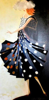 Black And White Glamour Dot 2009 36x18 Original Painting - Alina Eydel