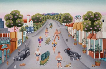 Stars Jogging on Rodeo Drive 1989 26x36 Original Painting - Gisela Fabian