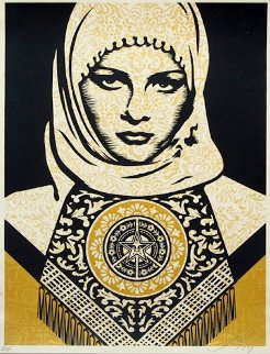 Arab Woman (Gold) 2008 Limited Edition Print - Shepard Fairey