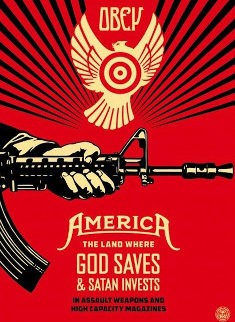 God Saves and Satan Invests  AP 2013 Limited Edition Print - Shepard Fairey