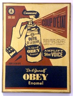 Obey Coup D'etat (on Wood) 2003 Limited Edition Print - Shepard Fairey