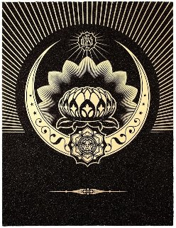 Obey Lotus Crescent (Black/Gold) 2013 Limited Edition Print - Shepard Fairey