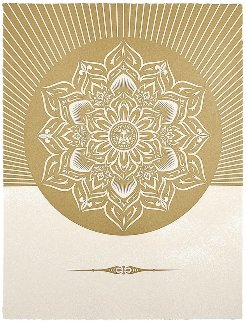 Obey Lotus Diamond (White/Gold) 2013 Limited Edition Print - Shepard Fairey