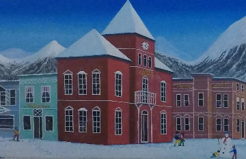 Aspen Village 2004 21x45 Original Painting - Fanch Ledan