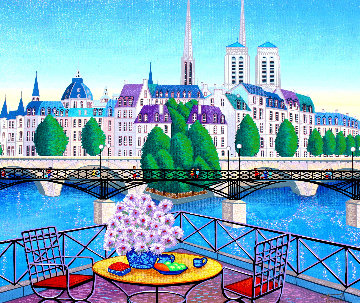 Paris Pont Des Arts 2001 Embellished  (Notre Dane) Limited Edition Print - Fanch Ledan