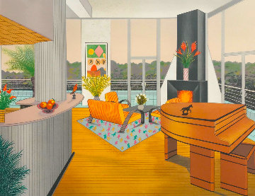 Interior With Fireplace AP 1991 Limited Edition Print - Fanch Ledan