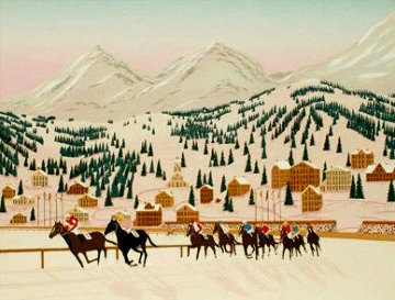 Horse Racing in St. Moritz 1987 Limited Edition Print - Fanch Ledan