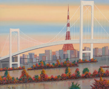 Odaiba, Paris, France 1992 24x49 Original Painting - Fanch Ledan