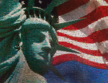 Statue And Flag Limited Edition Print - Neil J. Farkas