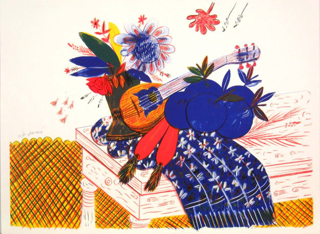 Still Life (Flowers, Carrots, Scarf, and Mandolin)