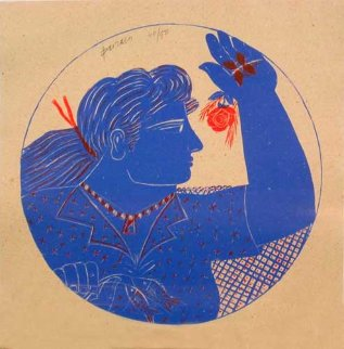 Woman and Rose (femme Et Rose) 1999 Limited Edition Print - Alexandre Fassianos