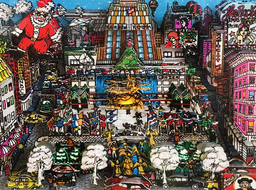 Santa Claus Coming to Midtown 3-D 1988 Limited Edition Print - Charles Fazzino