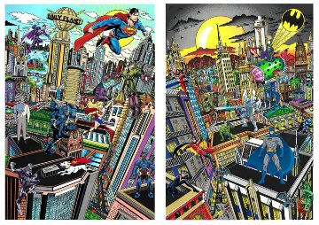 Superhero Suite Superman Saves the Day & Batman Rules the Night Set 2016 3-D Limited Edition Print - Charles Fazzino