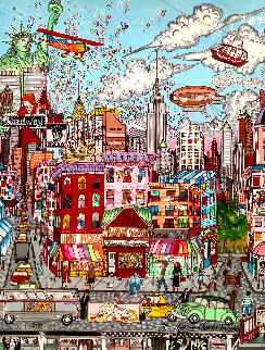 Beautiful Day in NYC 1986 54x43 Original Painting - Charles Fazzino