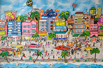 South Beach 3-D Florida Miami 1993 Limited Edition Print - Charles Fazzino
