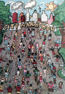 Cool Down 3-D 1990 (New York Marathon) Limited Edition Print - Charles Fazzino