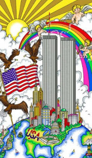 United We Stand, New York Twin Towers 2001 Limited Edition Print - Charles Fazzino