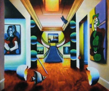 Untitled (Interior with Picasso) 30x36 Original Painting - (Fernando de Jesus Oliviera) Ferjo