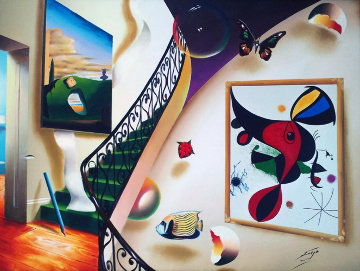 Untitled Interior with Artwork 39x49 Original Painting - (Fernando de Jesus Oliviera) Ferjo