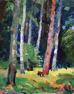 Forest 1964 13x11 Original Painting - Ivan Filichev